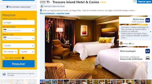 Estadia no Treasure Island Hotel & Casino em Las Vegas