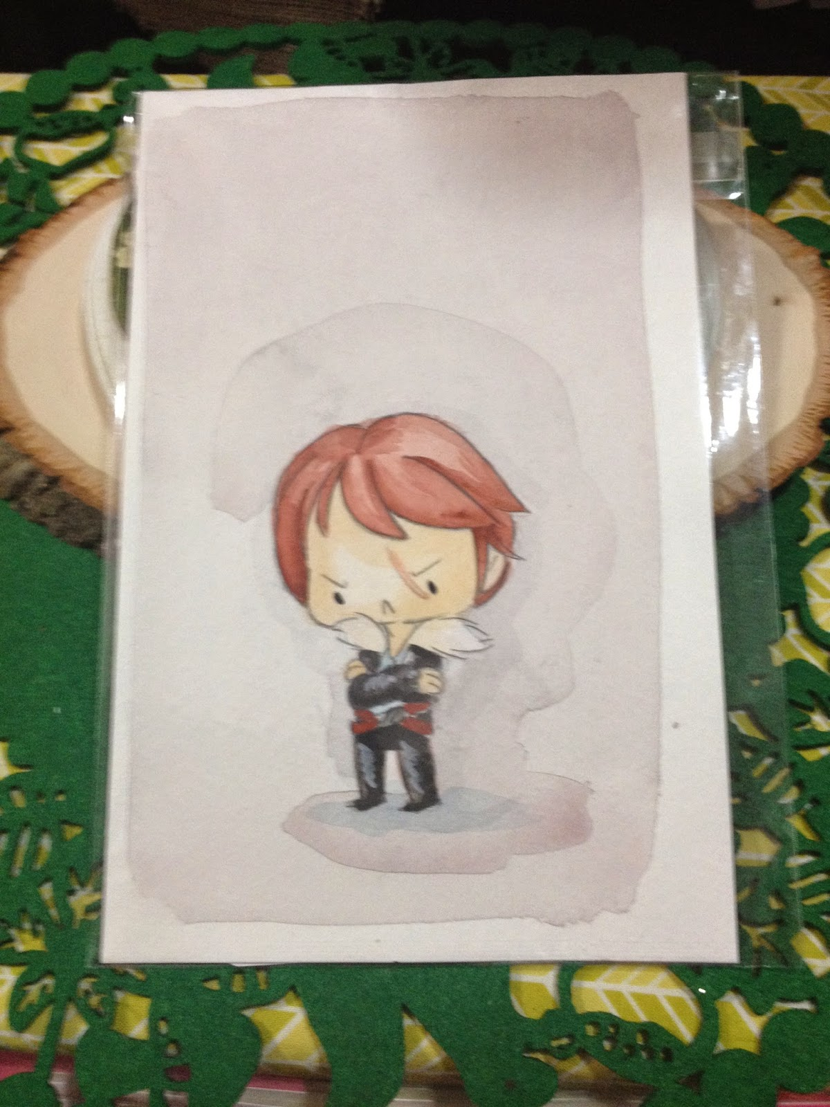 Sulky Chibi Squall Watercolor