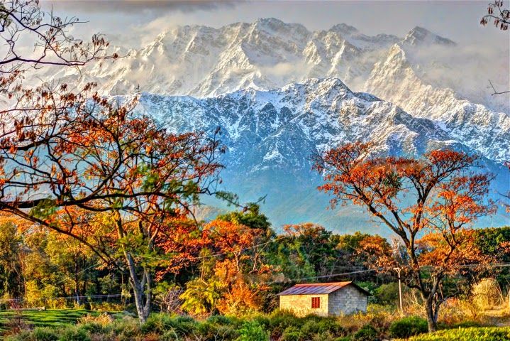Dhauladhar range in Kangra Valley