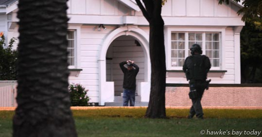 Armed police and Armed Offenders Squad arrested a man from a house in Georges Drive, Napier. photograph