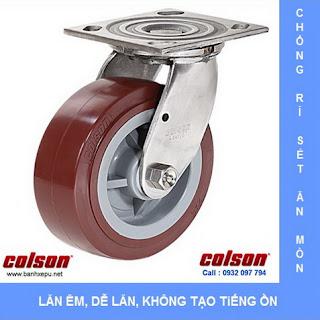 Bánh xe PU càng bánh xe đẩy inox chịu tải trọng | bánh xe nhựa PU, bánh xe xoay
