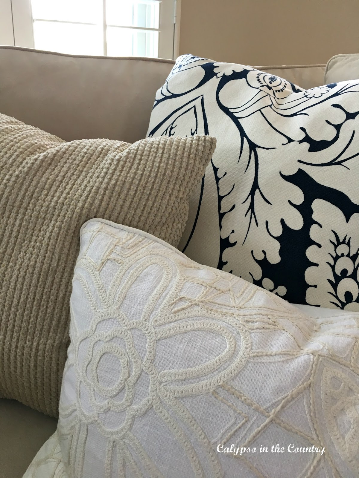 Blue and White Pillows and a new sectional