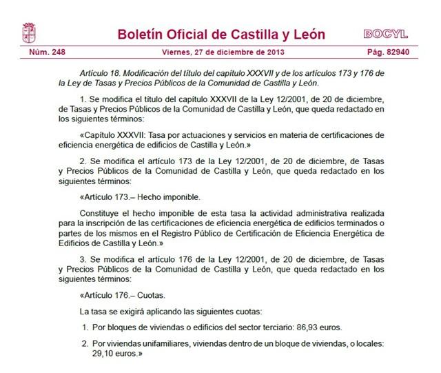 Tasa por registrar el Certificado de Eficiencia Energética en Castilla y León 2014 2