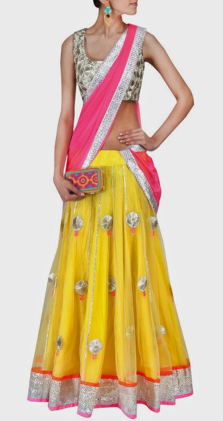 Indian Women Party Ethnic Wear Lehenga Saree Designs 2014