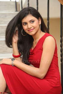Mounika Telugu Actress in Red Sleeveless Dress Black Boots Spicy Pics 055.JPG