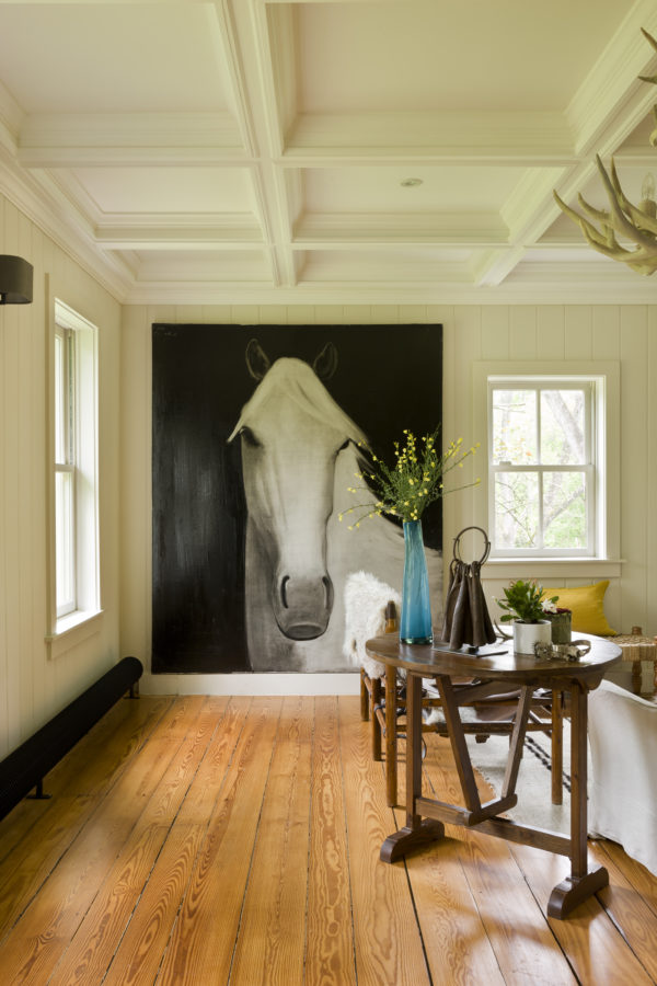 image result for timeless Belgian minimal living room with horse painting in country house in Virginia