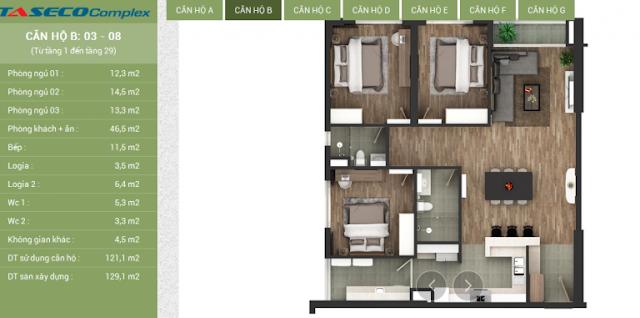 Thiết kế căn hộ B Taseco Complex