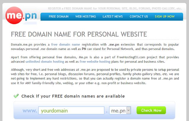 Domain.me.pn - Free domain name