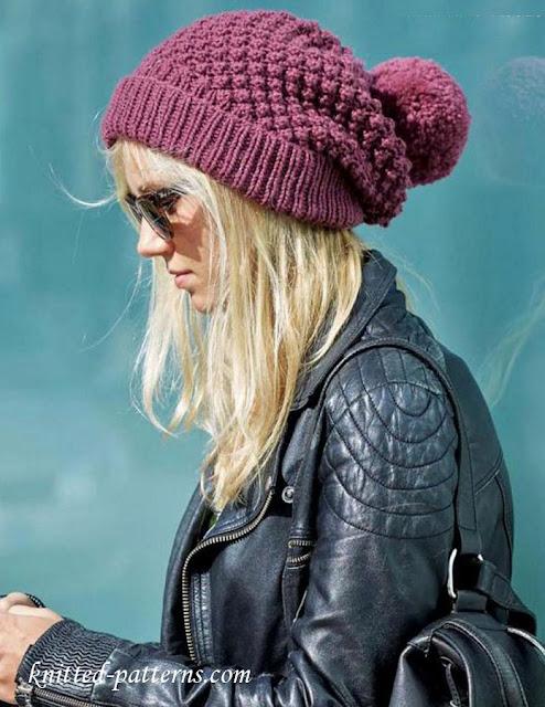czapka damska na drutach ze wzorem