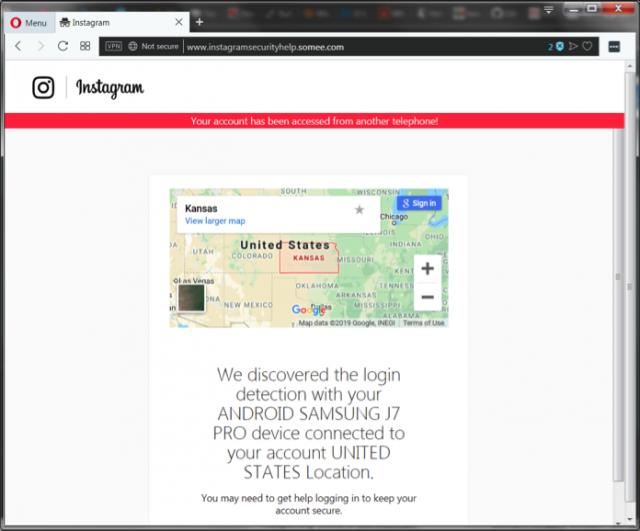 Ciber criminales usan un correo fraudulento para robar cuentas en instagram.