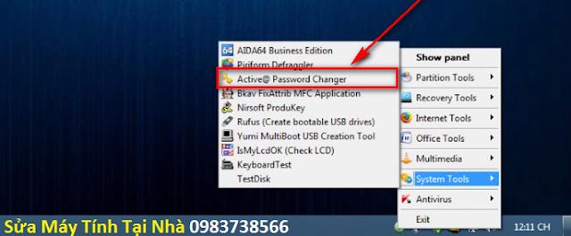 Mở chương trình Active Password Changer
