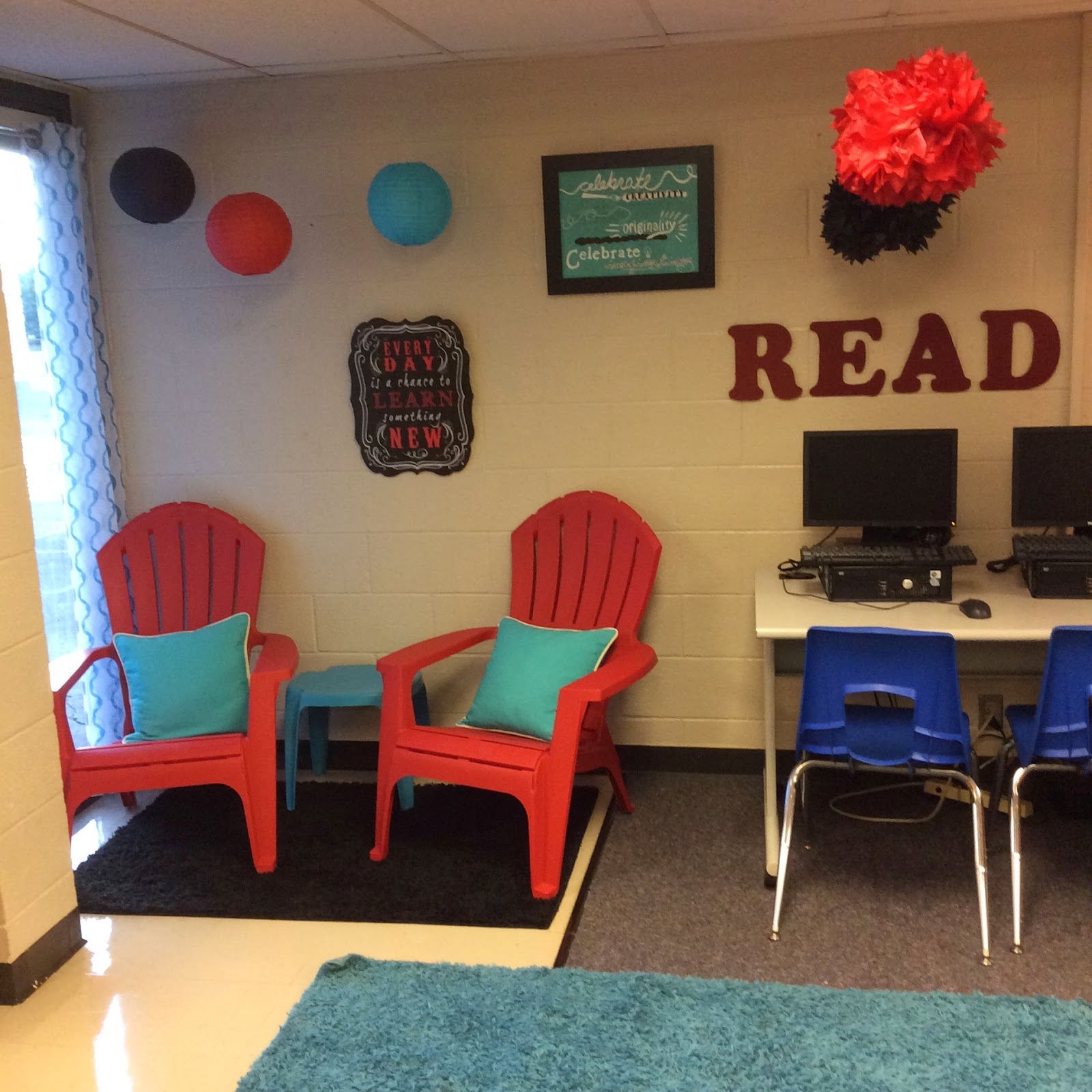 red adirondack chairs plastic roman chair exercise equipment the teacher dish: a 5th grade reading classroom tour