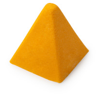 A light orange dense pyramid shower bomb on a white background.