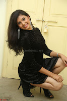 Mounika in a velvet short black dress for Tick Tack Movie Press Meet March 2017 056.JPG