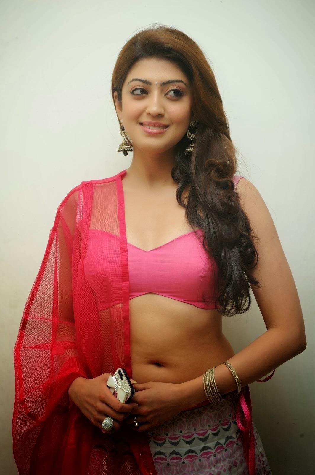 Pranitha Subash Hot Navel Show, Pranitha Sexy Cleavage In Pink-7575