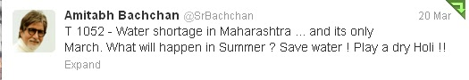Amitabh bachchan tweet for dry holi