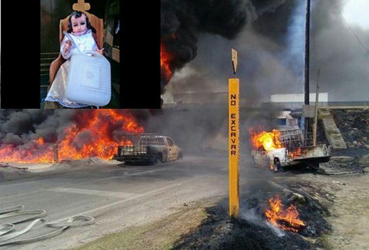 Para que no estallé el combustible robado y no ser detenidos por el Ejército, Huachicoleros ruegan a su propio niño santo