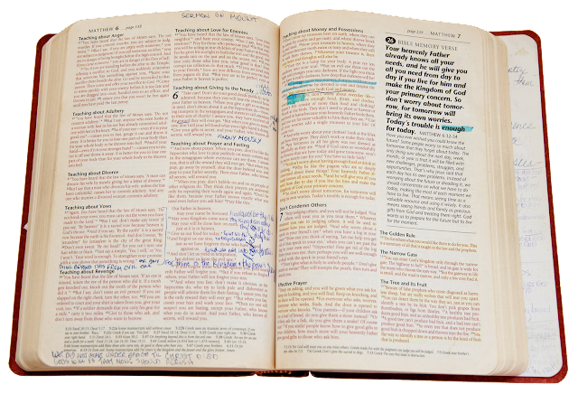 A modern bible version open to the Sermon on the Mount, with hand-written annotations.