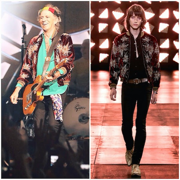 Keith Richards of The Rolling Stones wears Saint Laurent by Hedi Slimane Spring Summer 2015 red velvet stars embroidered baseball varsity jacket at Allphones Arena on 12 November 2014 in Sydney Australia