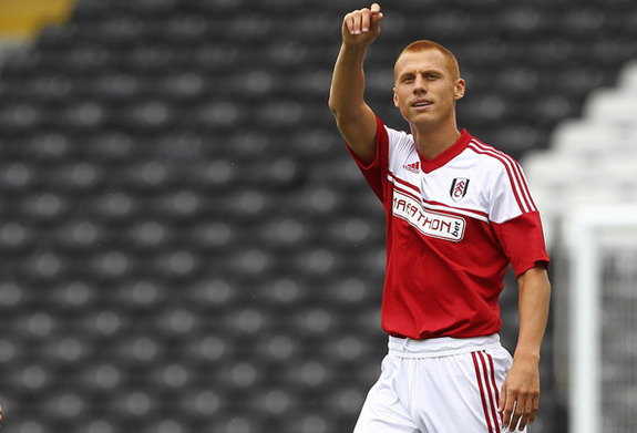 Steve Sidwell celebrates after scoring the opening goal for Fulham against Parma