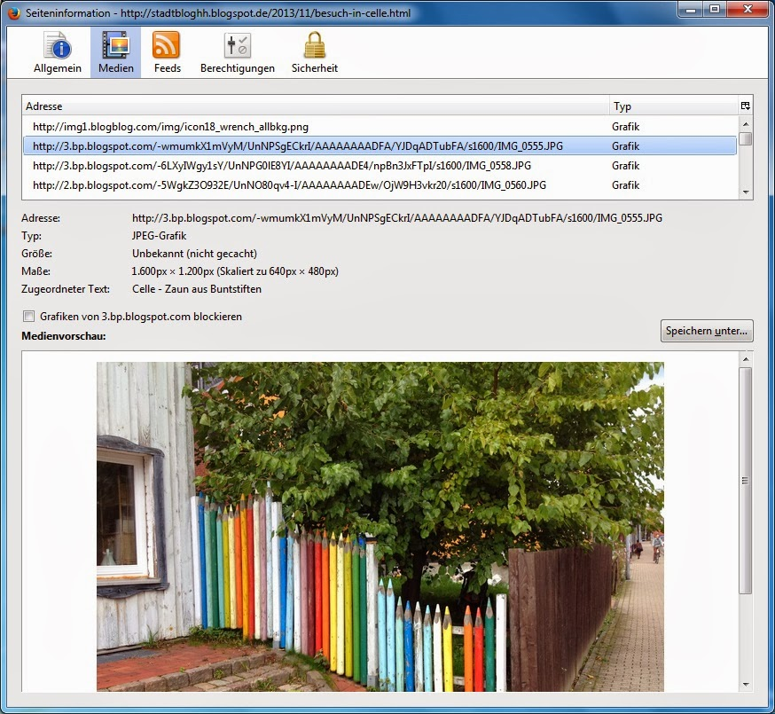 Firefox - Seiteninformationen - Medien - Vorauswahl Grafik dann suchen