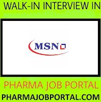 MSN Laboratories Pvt. Ltd Walk In Drive For Freshers at 20  Sep