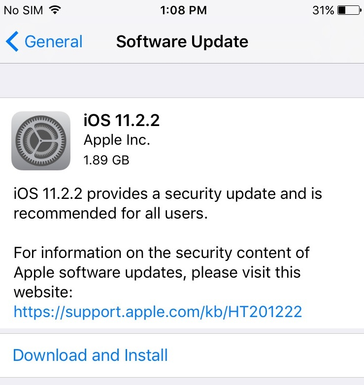 Apple iOS 11.2.2 Update Changelog