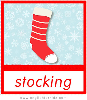 Christmas stocking - printable X-mas flashcards for ESL students