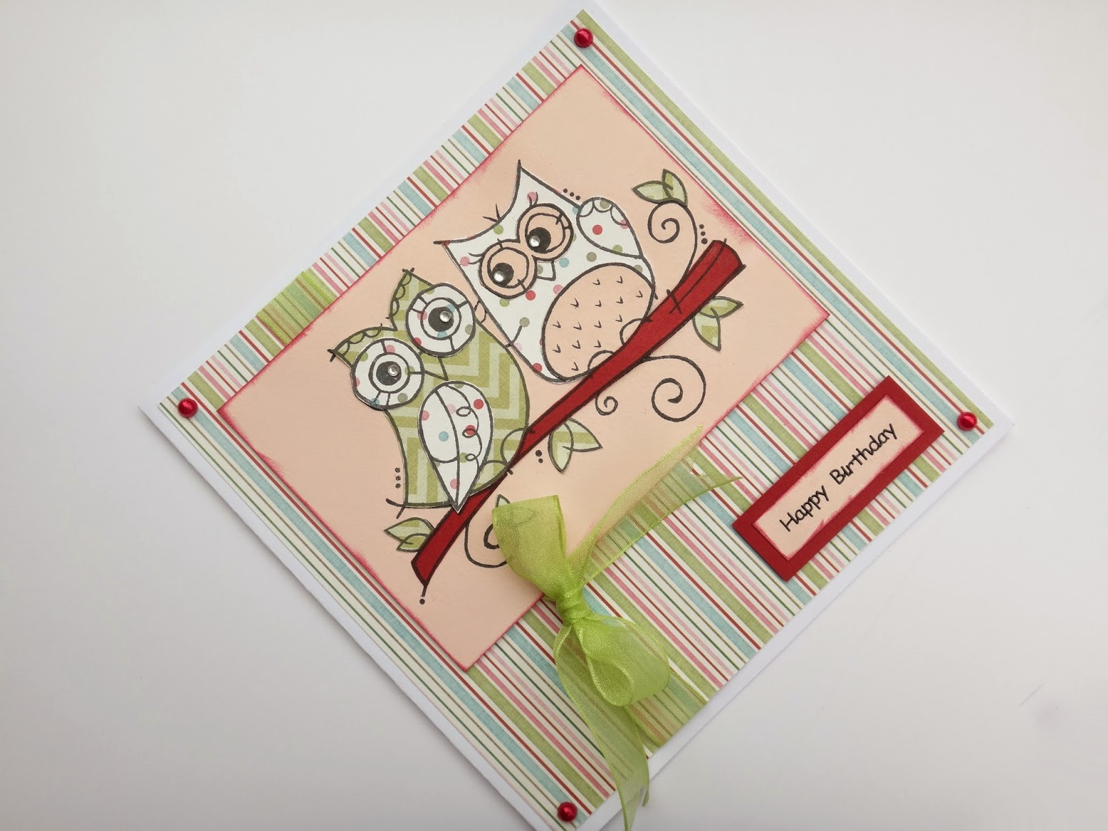 stamped and paper pieced handmade birthday card
