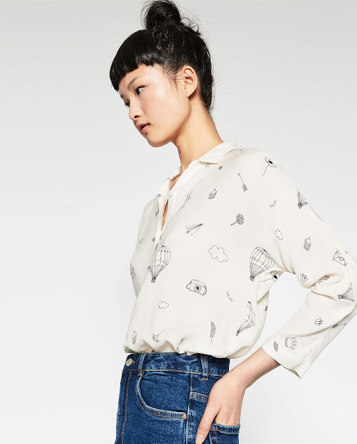 zara printed shirt, tattoo printed shirt,