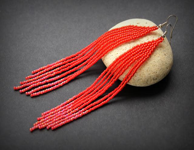 купить красные серьги бижутерия из бисера интернет магазин россия