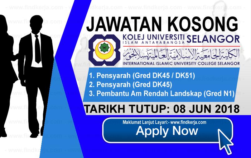 Jawatan Kerja Kosong KUIS - Kolej Universiti Islam Antarabangsa Selangor logo www.findkerja.com www.ohjob.info jun 2018