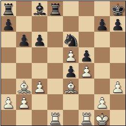 Partida de ajedrez Manuel Golmayo vs. Max Albin jugada en 1910, posición después de 18.Tad1!