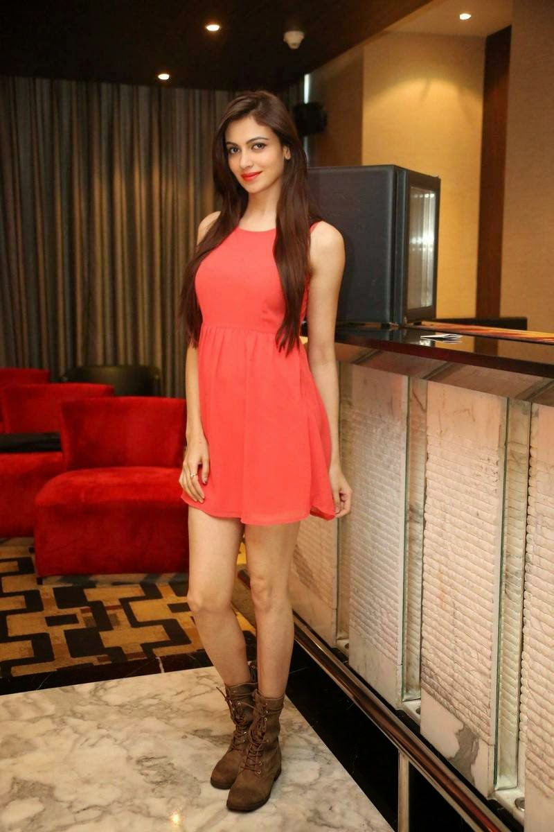 Actress Simran Kaur Mundi Wallpapers, Simran Kaur Mundi Long Legs hot Pics in Red short Dress & Boots