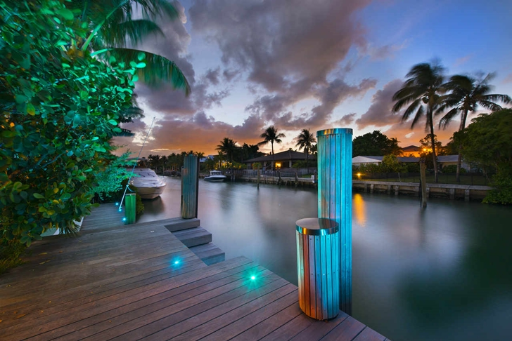 Dock in Modern mansion in Miami at night