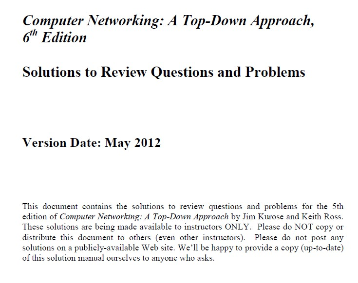 Computer Networking Top Down approach book and solution download 6th