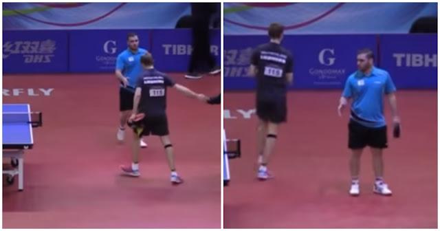 Έλληνας πρωταθλητής δίνει το χέρι του στον ηττημένο Γερμανό αντίπαλό του και αυτός τον προσπερνά και φεύγει