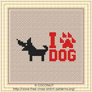 I love dog cross stitch pattern for free, paw print cross stitch