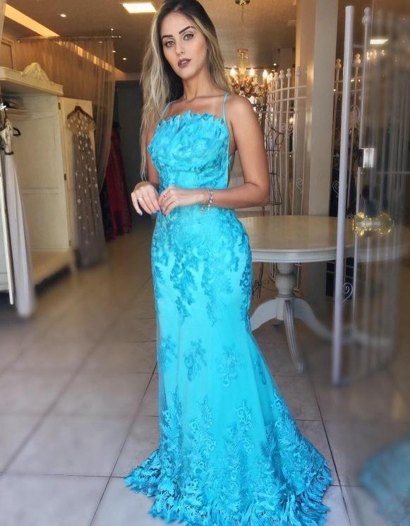 vestido de festa turquesa
