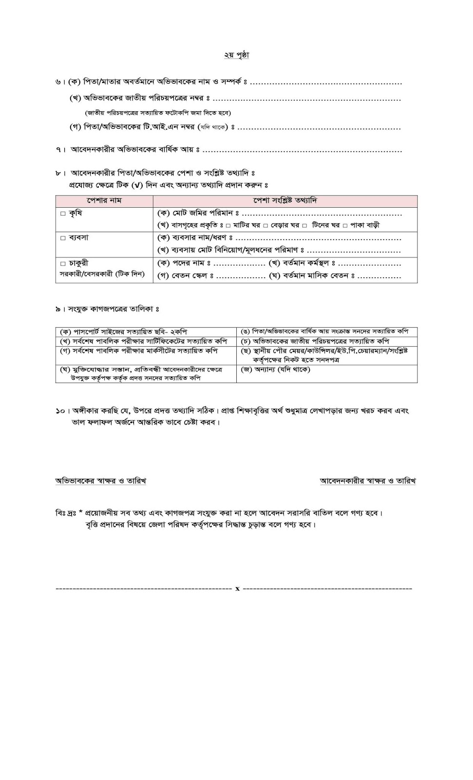 Zila Parishad Gazipur SSC/Equivalent and HSC/Equivalent Scholarship 2018-2019 Application Form