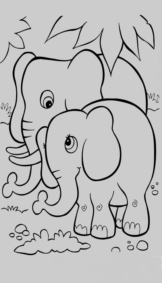 Tranh tô màu voi con và mẹ đi dạo