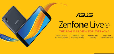 Asus ZenFone Live L1, RAM 2GB Kamera 13 MP, Baterai 3000 mAh Layar HD+ Cuma 1,3 Juta