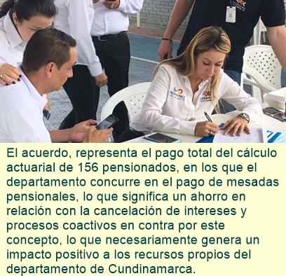 Cundinamarca: Nueve mil millones de pesos sanean pasivo pensional