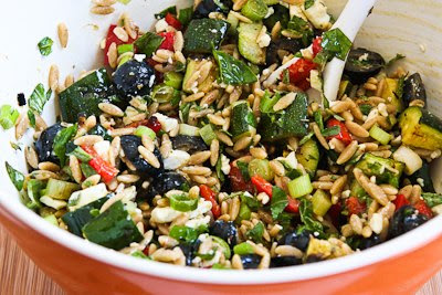 Whole Wheat Orzo and Grilled Vegetable Salad Recipe with Feta, Olives, and Herbs (Meatless) found on KalynsKitchen.com