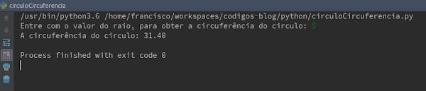 Resultado Script Python circunferência do círculo
