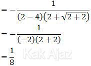Hasil akhir limit fungsi pecahan bentuk akar, soal Matematika UN 2017