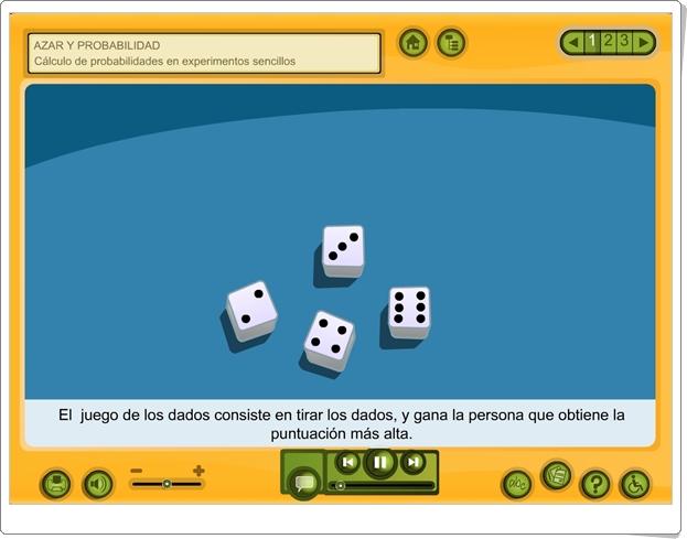 """Azar y probabilidad: """"Cálculo de probabilidades en experimentos sencillos"""" (Aplicación interactiva de Matemáticas de Primaria)"""