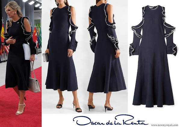 Queen Maxima wore OSCAR DE LA RENTA Cold-Shoulder ruffled wool midi dress