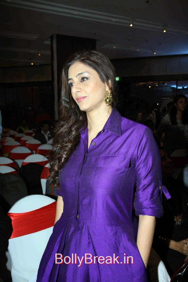 Tabu Photoshoot Stills, Tabu Hot HD Images In Purple Dress from Aaarya Babbar Book Launch