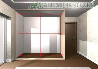 desain ukuran lemari tanam model sisi ruang